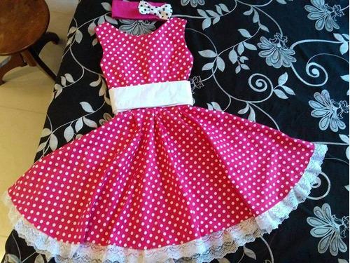 vestido bolinhas retrô vintage anos 60 infantil look complet