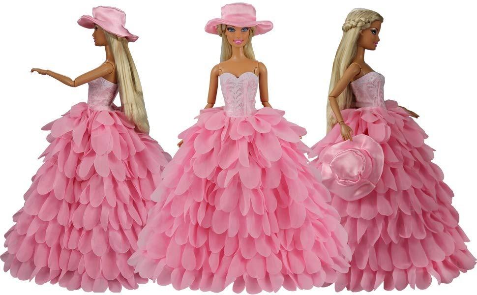 vestido boneca barbie roupa festa noturna cor rosa e chapéu. Carregando  zoom. f70412b5d3d