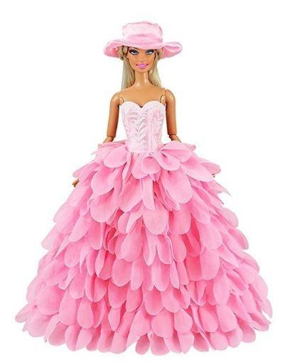 Vestido Boneca Barbie Roupa Festa Noturna Cor Rosa E Chapéu - R  44 ... e6e22b98731