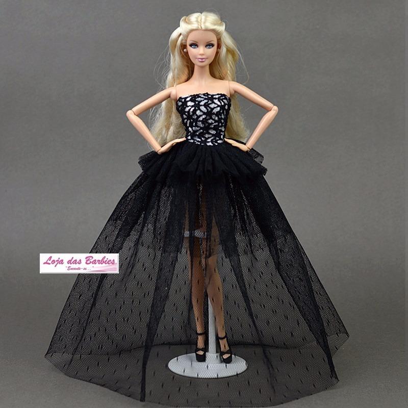 Vestido Boneca Barbie Super Luxo Gala Roupa Com Sapatos 30s