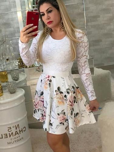 vestido boneca manga longa cinto de cetim brinde