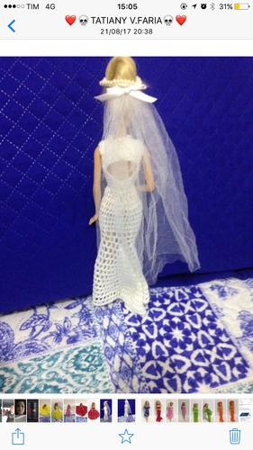 vestido boneca noiva crochet