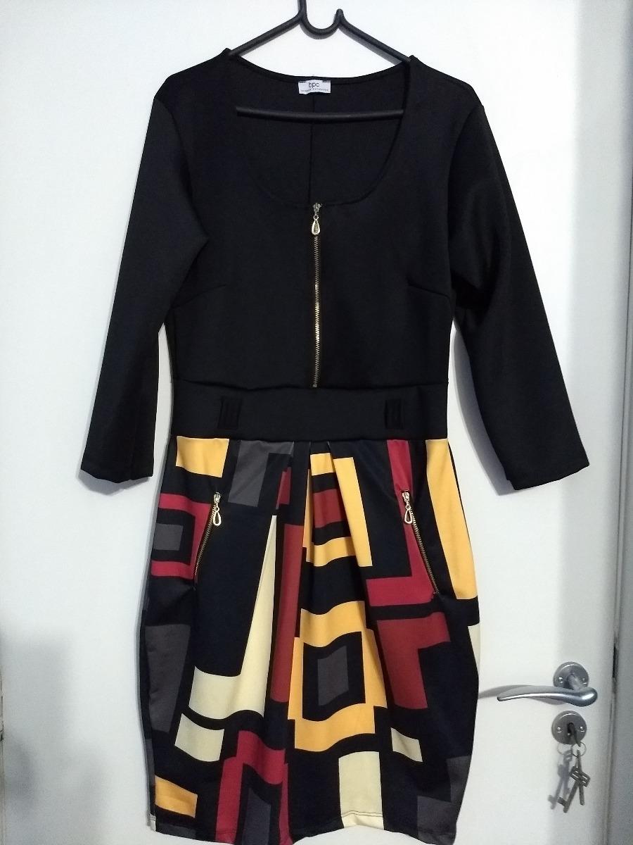 f38848a683 vestido bonprix preto estampado manga longa ziper strech 42. Carregando  zoom.
