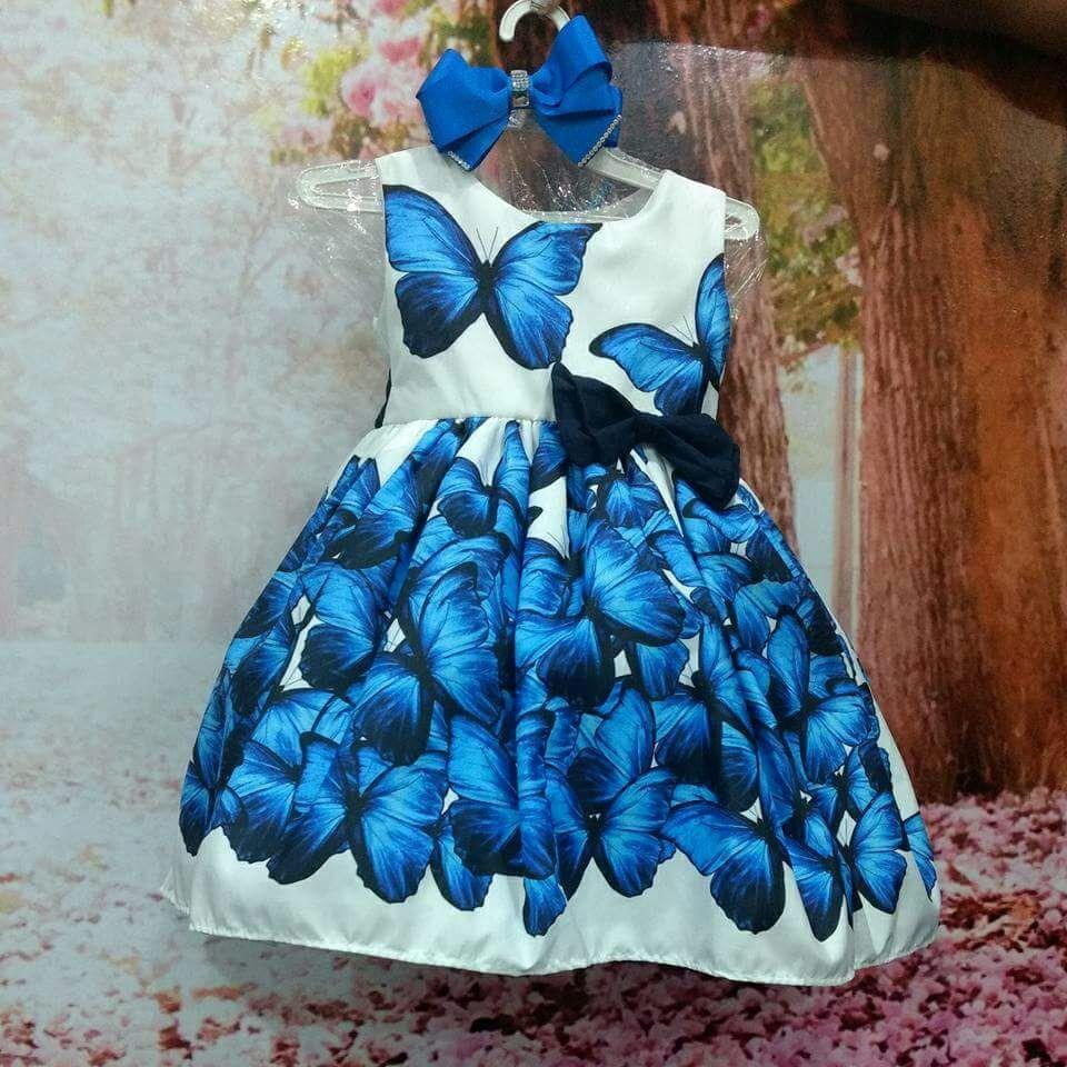 e0b9b2a6d Vestido Borboletas Azuis - R$ 225,40 em Mercado Livre