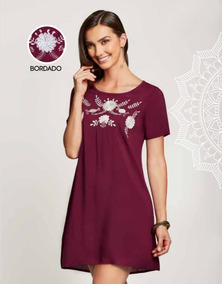 Vestido Bordado Corto Bohemio Color Vino Tinto Casual Chic