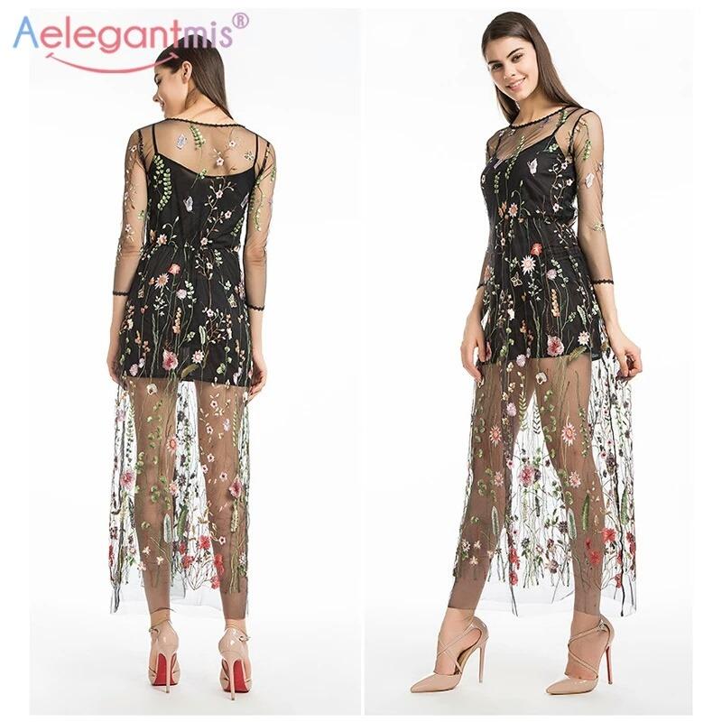 fc31432e67 Vestido Bordado Floral Casual Elegante Negro -   799.00 en Mercado Libre