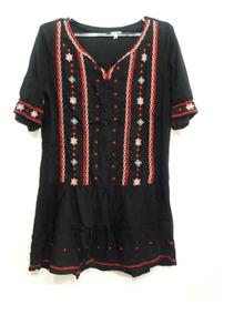 6fc079466 Vestido Bordado Hippie Chic Boho Importado India
