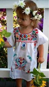 Vestido Bordado Mexicano De Niña Bordado Típico De Moda