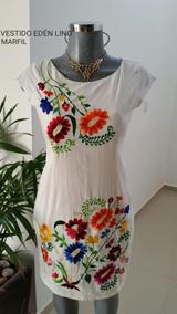 Vestido Bordado Típico Yucateco Lino Flamé Edén