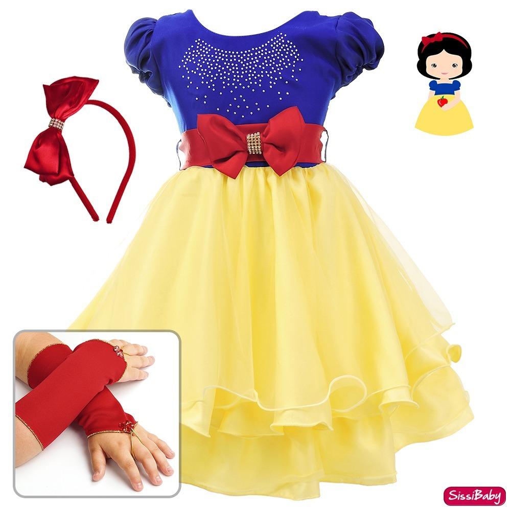 4251cf9c53 Vestido Branca De Neve Festa Infantil Cute Tiara E Luvas - R  93