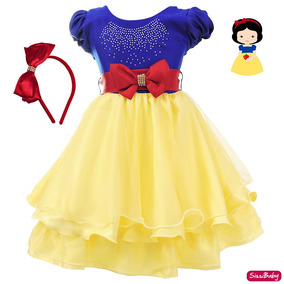c388061a1f Vestido Branca De Neve Festa Infantil Cute Tiara Promoção