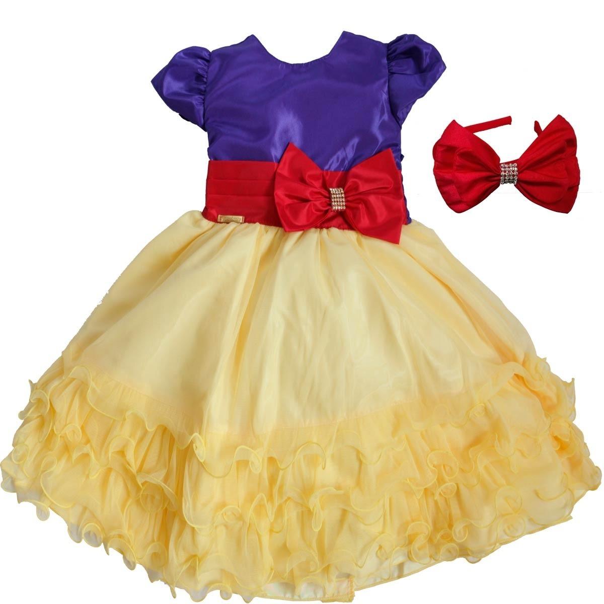 31b1f432a vestido branca de neve infantil luxuoso para festa com tiara. Carregando  zoom.