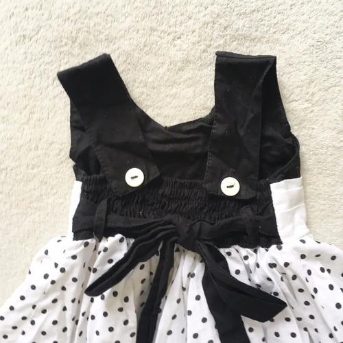 vestido branco c/ bolinhas pretas tam 1a