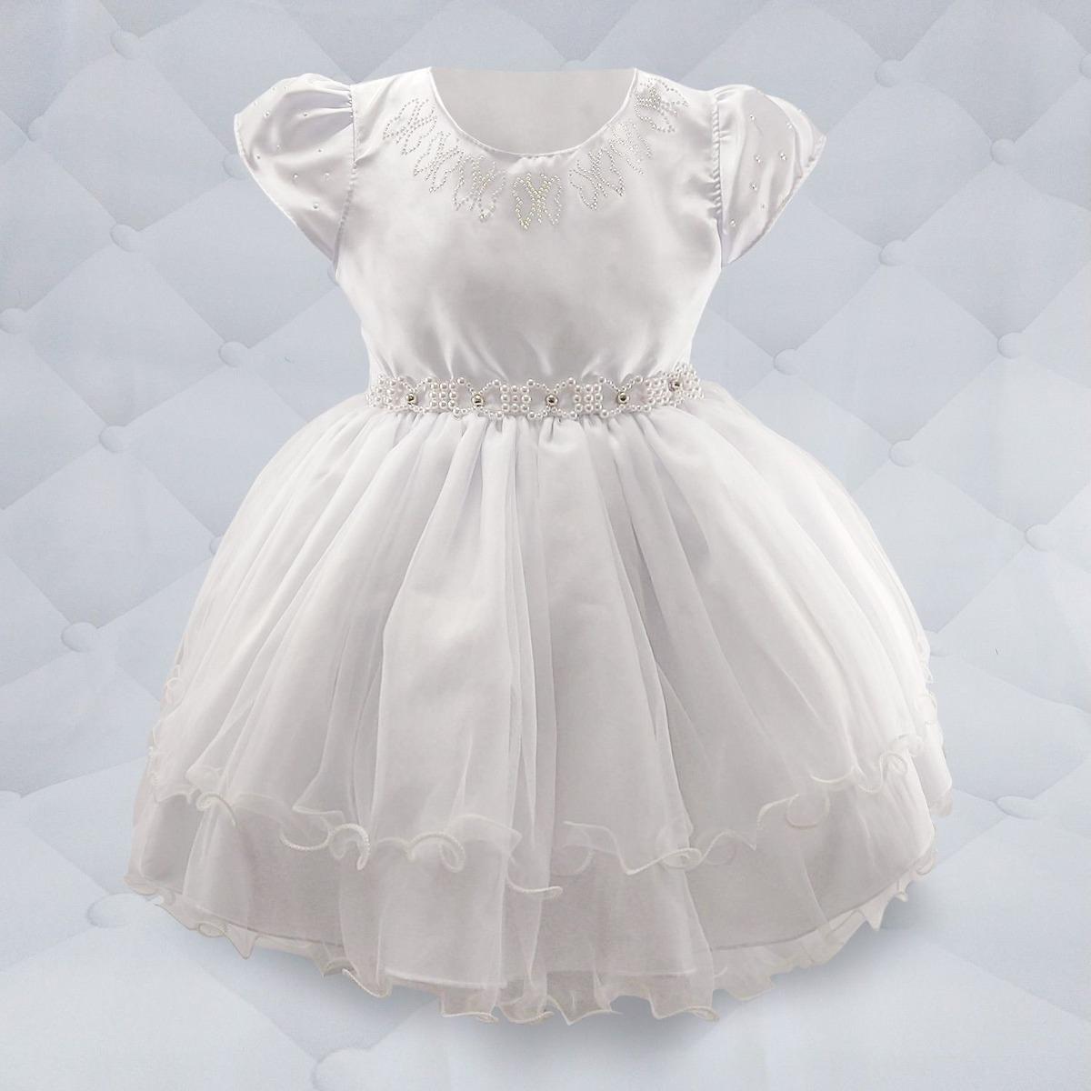 d7567ee6da vestido branco com cinto de pérola e frente de strass. Carregando zoom.