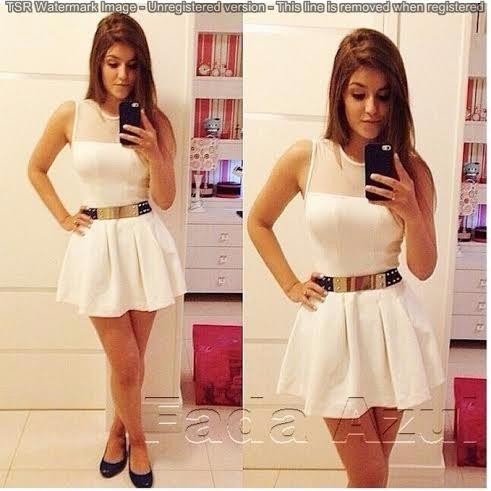 05c1de5cad Vestido Branco Curto Com Tule Panicat Rodado - Importado - R  69