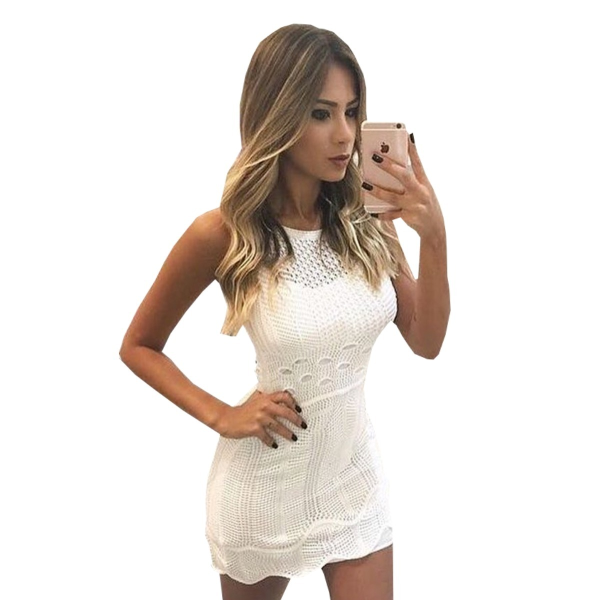 de432cc087 vestido branco curto da moda tricot trico roupas femininas. Carregando zoom.