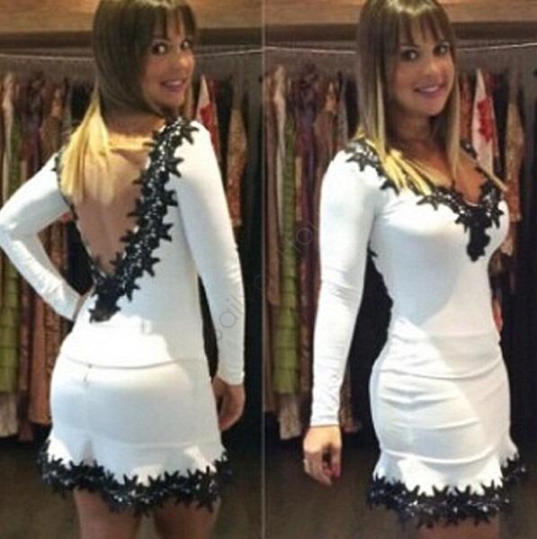 0f7df751ee Vestido Branco Curto Manga Longa Detal Preto Nova Moda Verão - R  90 ...
