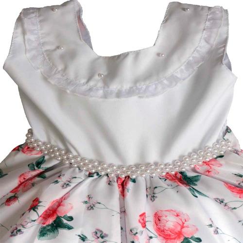 25b17e683f Vestido Branco De Festa Infantil Luxo Floral Com Tiara - R  100