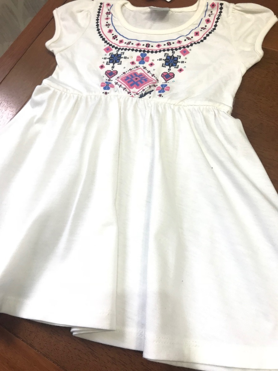 Vestido Branco Estampado Tamanho 2