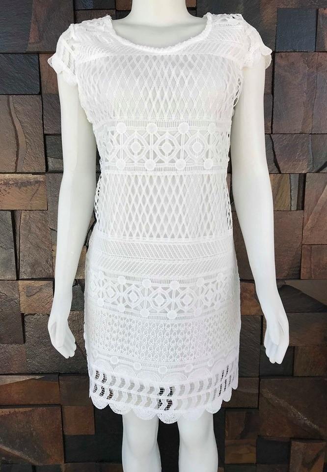 Vestido Branco Feminino Fio Croche Delicado De Manga Curta