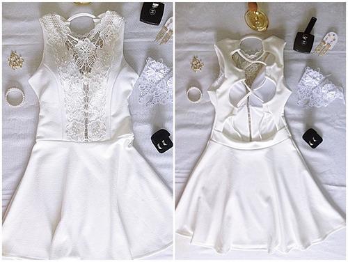 vestido branco festa casamento civil pérolas e renda guipir