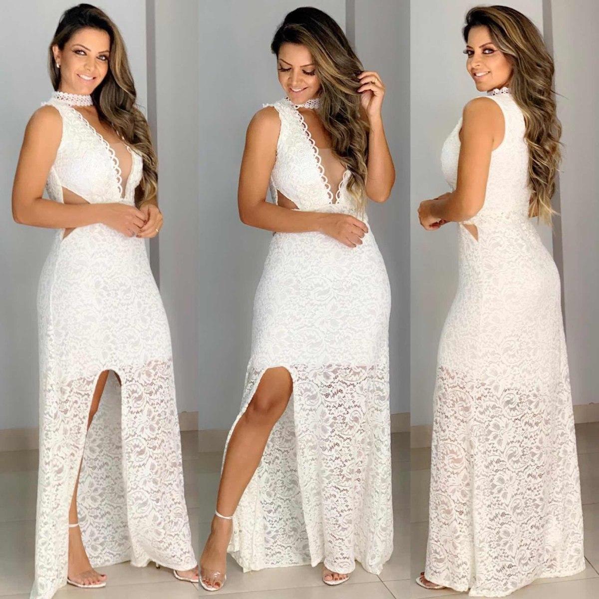 Vestido Branco Longo De Renda Tule Réveillon Virada Noiva