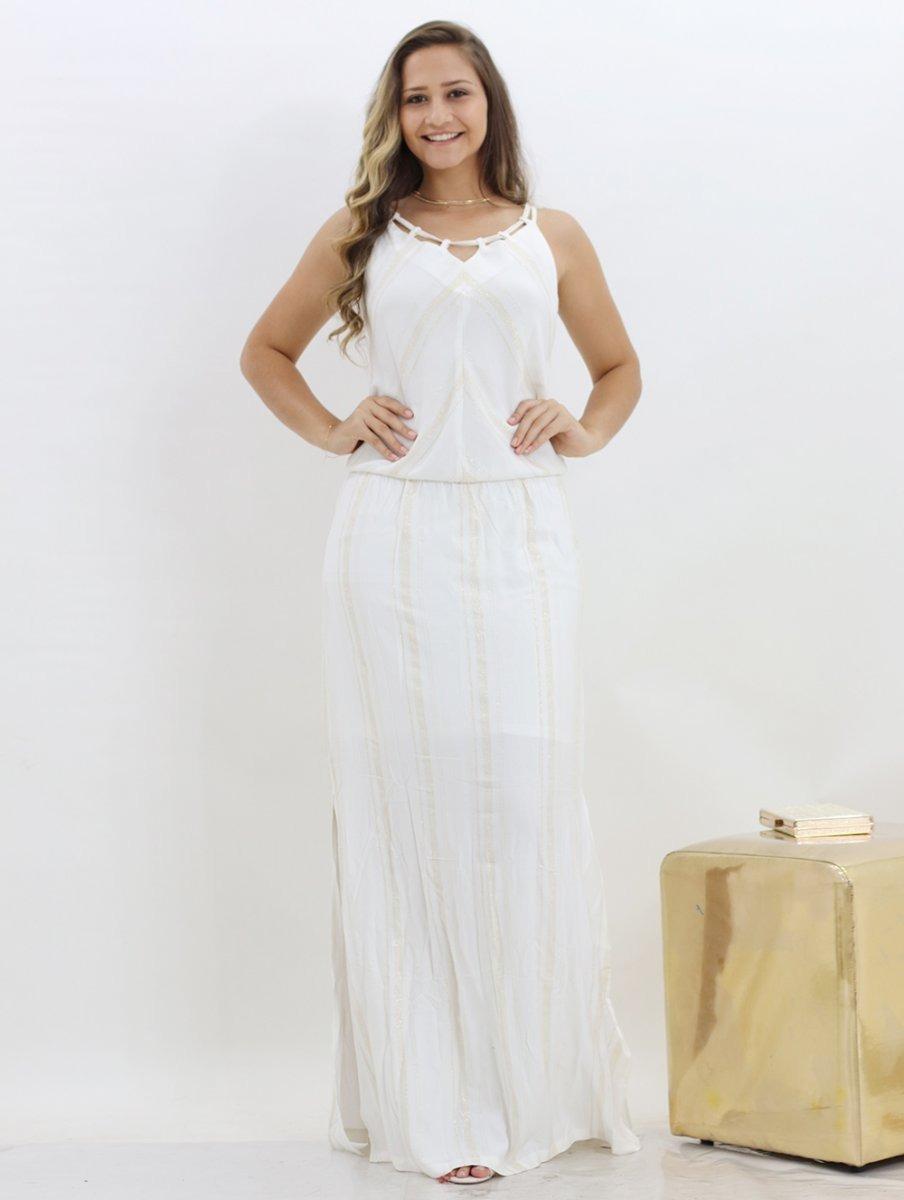 775e192a0 Vestido Branco Longo Feminino Com Brilho - R$ 199,90 em Mercado Livre