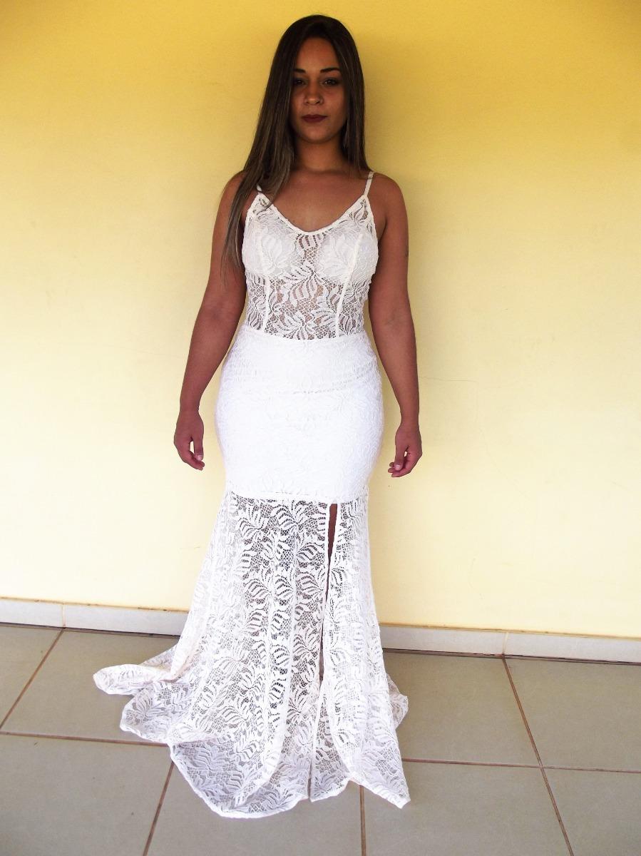 Vestido Branco Longo Luxo Renda Rosê Reveillon Ano Novo