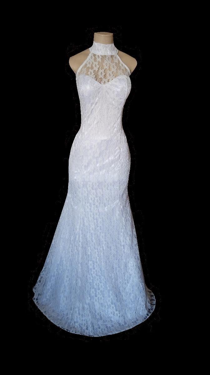 Vestido Branco Longo Renda Noiva Simples Casamento Civil