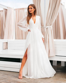 Vestido Branco Longo Simples Manga Longa Noiva