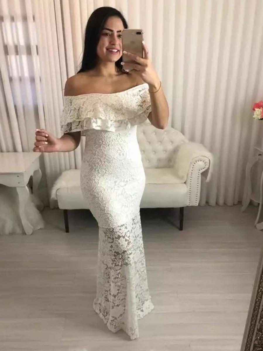 Vestido Branco Off White Longo Fenda Casamento Civil Noivad