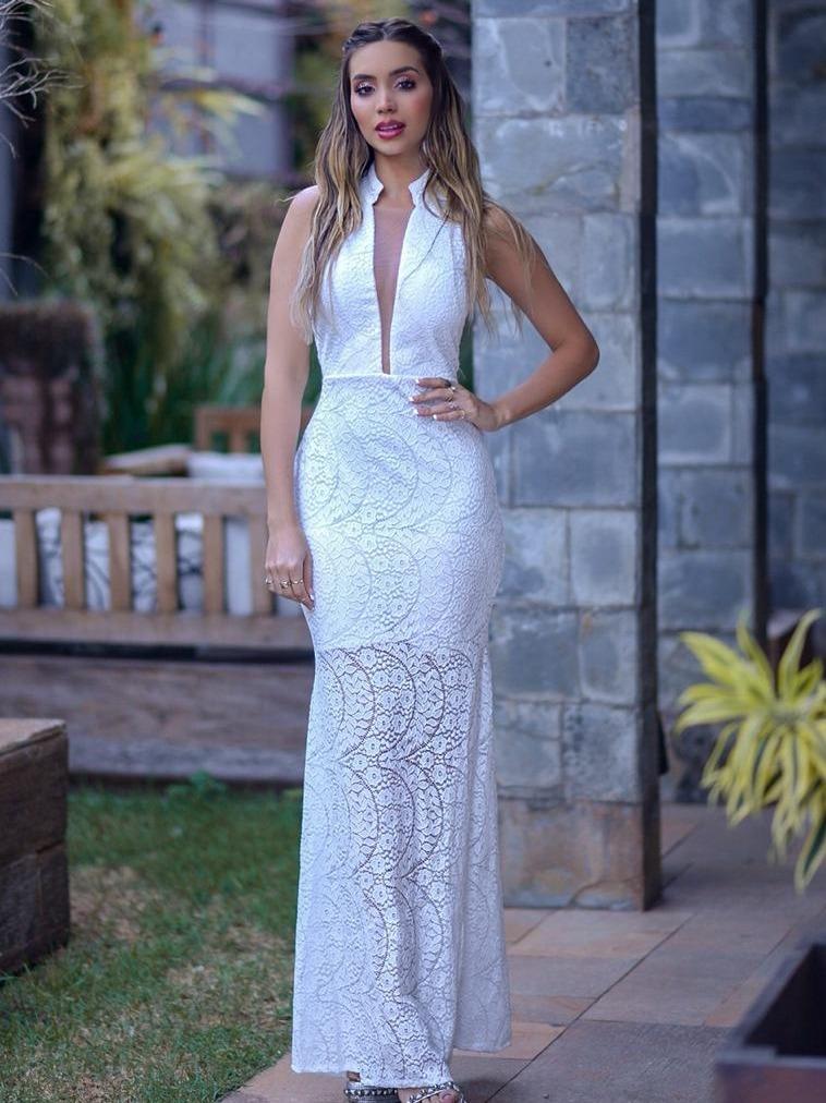 Vestido Branco Off White Longo Renda Casamento Civil Festa