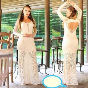 5fa6da96eb77 Vestido Branco Renda Longo Civil - Vestidos Femeninos Longo com o Melhores  Preços no Mercado Livre Brasil