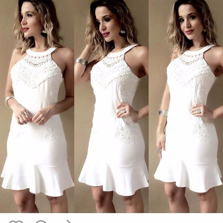 38e695f817 Vestido Branco Perola Reveillon Festa Virada Ano Novo Moda - R  120 ...
