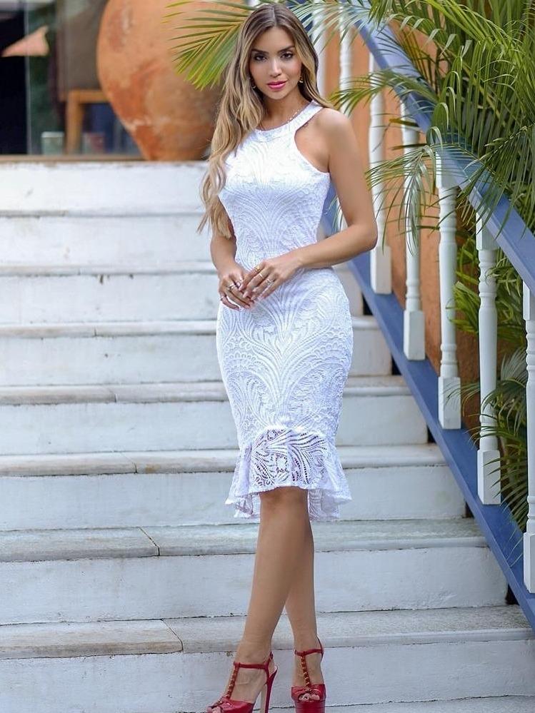 Vestido Branco Renda Midi Noivado Casamento Civil
