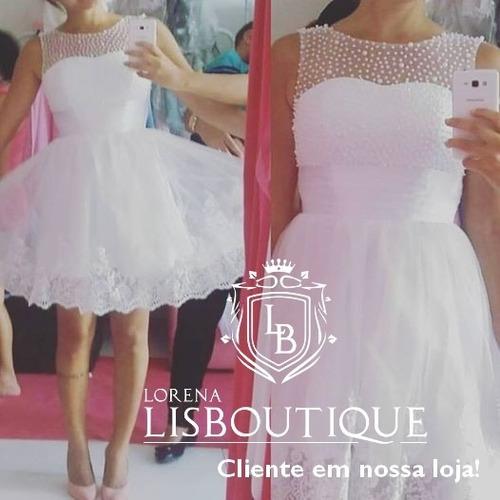 vestido branco retro renda curto noiva debutante dama pron e