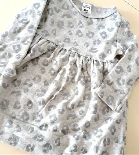 vestido buzo carters animal print gris  con brillo 18 meses
