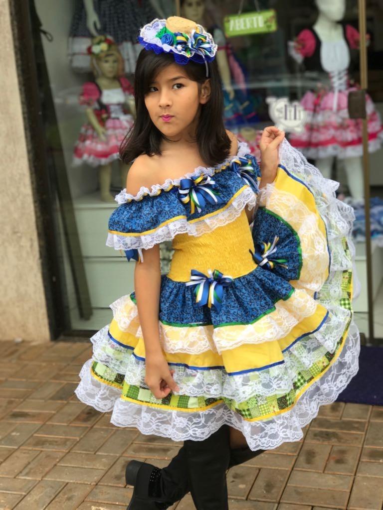 vestido caipira infantil copa brasil dalili brasil sao joao. Carregando zoom . 253cf83f916