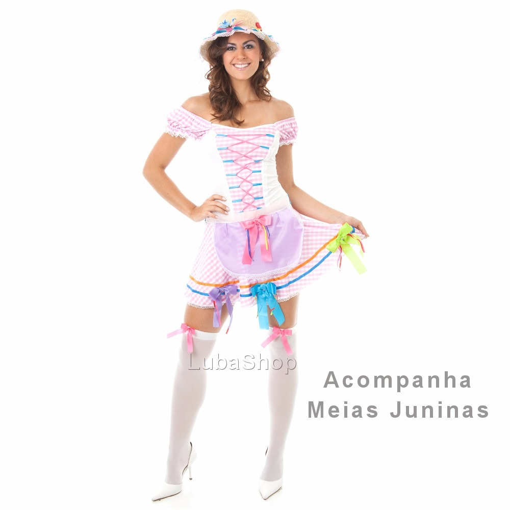 5cda26fd0635c Vestido Caipira Junino Sensual Roupa Festa Junina Com Meia - R  102 ...