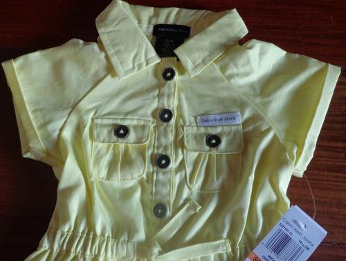 vestido calvin klein amarelo 2 peças - original