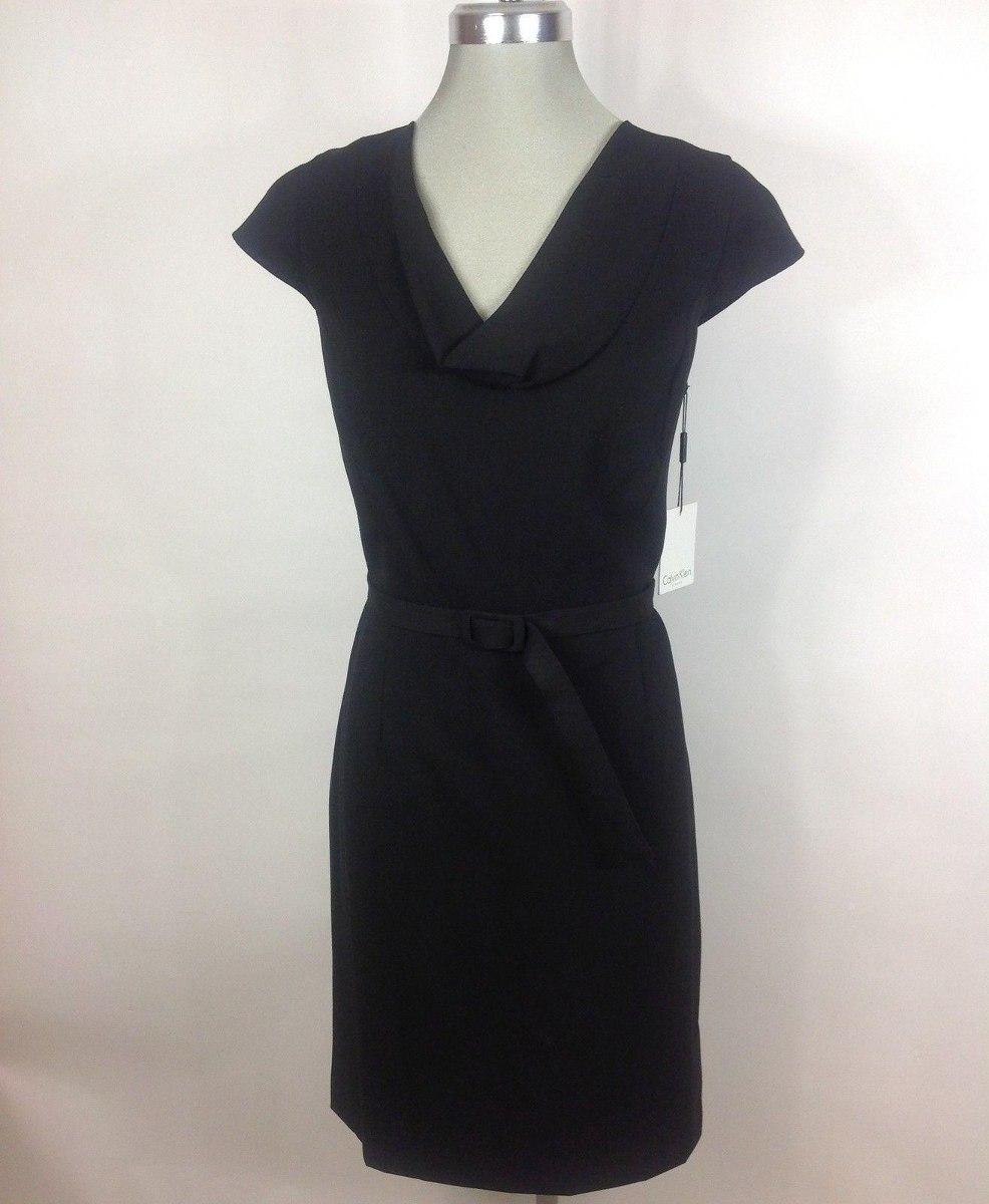 443f514b01 vestido calvin klein negro con cinturón (talle l 14). Cargando zoom.