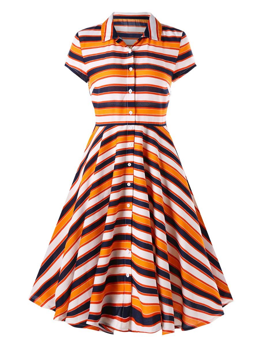 8158edbf1dd Vestido Camisa A Rayas Multicolor Manga Corta -   509.94 en Mercado ...