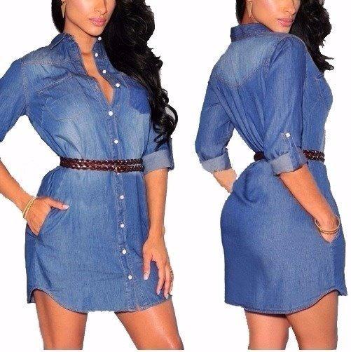 189f1528a Vestido Camisa Feminino Jeans Leve E Confortável Ref 055 - R$ 79,99 ...