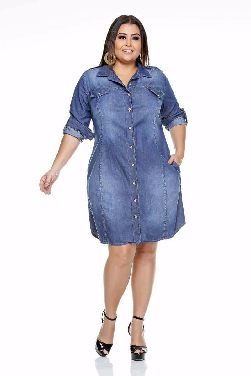 40c198f6e5d110 Vestido Camisa Jeans Plus
