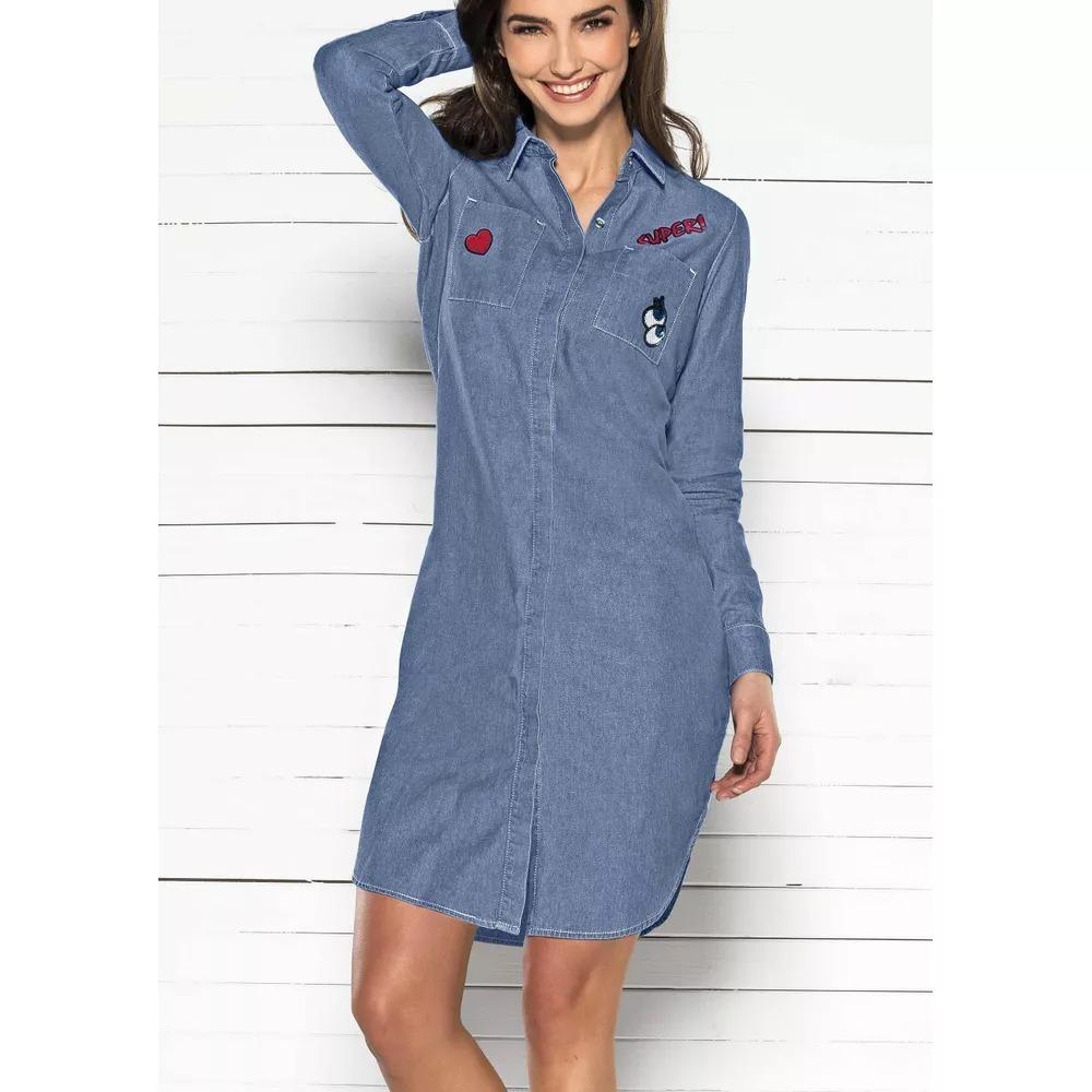 9a7315cde282e Vestido Camisero Azul Manga Larga Andrea 13608758 -   549.90 en ...