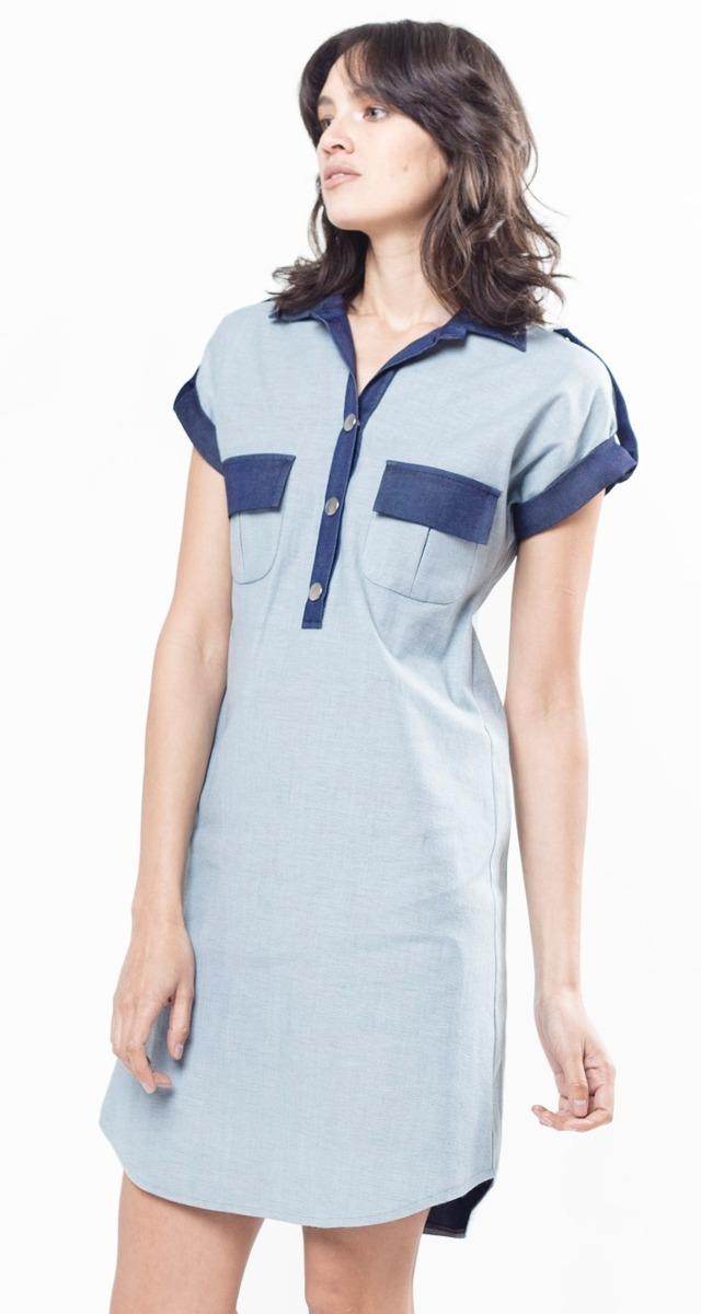 97844850e1 vestido camisero chemise simil jean azul camisa giacca. Cargando zoom.