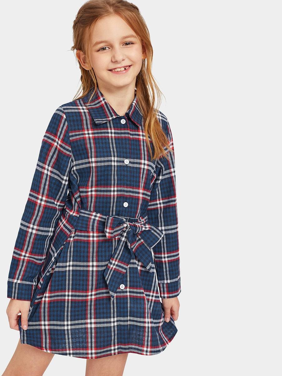 51172f3bb3 vestido camisero de niñas de cuadros con lazo delantero. Cargando zoom.