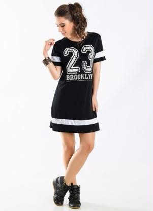 290cd8011 Vestido Camiseta Baseball Manga Curta Número Basquete Blusa - R  94 ...