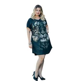 29819b652a82e5 Vestido Camiseta Manga Curta Estampa De Floral Plus Size