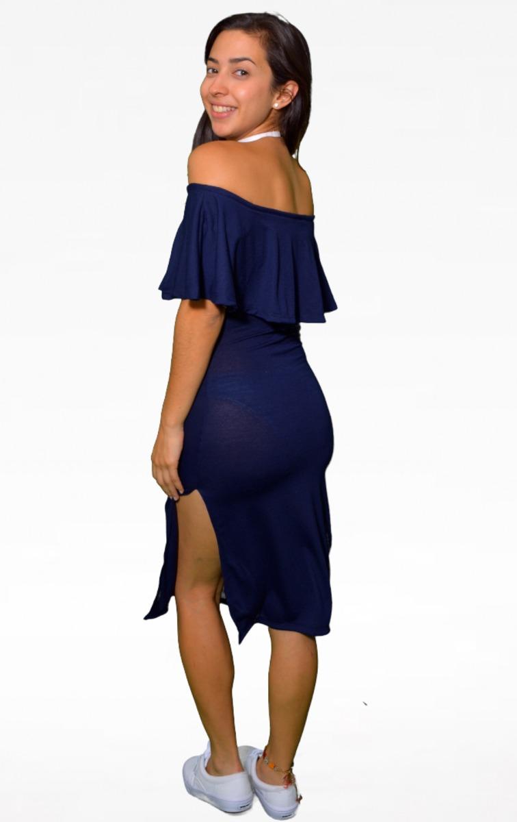 Vestido Campesino Largo Azul Marino - Maat Clothing - $ 499.00 En Mercado Libre